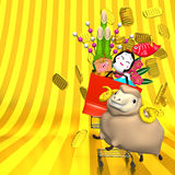 Sheep,New Year's Ornaments,Shopping Cart On Gold Stock Images