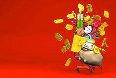 Sheep, New Year's Ornaments, Shopping Cart On Red Text Space Stock Photo