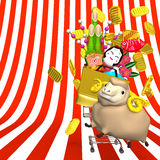 Sheep,New Year's Ornaments,Shopping Cart On Stripe Royalty Free Stock Photo