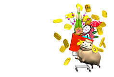 Sheep, New Year's Ornaments, Shopping Cart On White Text Space Royalty Free Stock Image