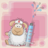 Sheep nurse. With a syringe in his hand vector illustration