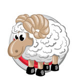 Sheep. Orient horoscope sign  in circle. Chinese symbols. Zodiac Stock Photo