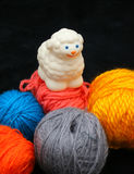 Sheep over balls of yarn. White sheep over balls of yarn. Concept: before and after stock photography