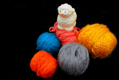 Sheep over balls of yarn. White sheep over balls of yarn. Concept: before and after Stock Images