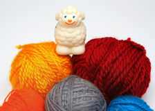 Sheep over balls of yarn Stock Images