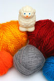 Sheep over balls of yarn. Concept: Before and after royalty free stock photo