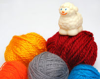 Sheep over balls of yarn. Concep: Before and after royalty free stock image