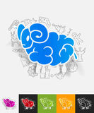 Sheep paper sticker with hand drawn elements Stock Image