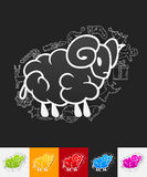 Sheep paper sticker with hand drawn elements Stock Photography