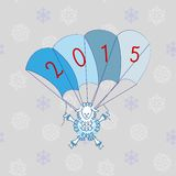 Sheep on parachute. Sheep flies on parachute with figures 2015 Stock Illustration