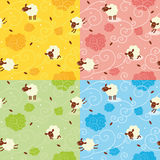 Sheep Pattern. Seamless Vector Pattern of Cute Sheeps and Floral Curls Royalty Free Stock Photos