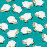 Sheep  pattern. Fantasy seamless pattern design with sheep on a starry field Royalty Free Stock Photography