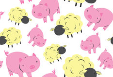 Sheep and Pig Seamless Pattern Stock Image