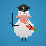 Sheep police officer holds stick and carrot Royalty Free Stock Image