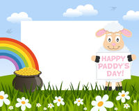 Sheep and Pot of Gold Photo Frame Royalty Free Stock Image