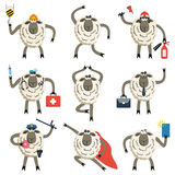 Sheep professional character vector set. Vector illustration of different sheep pose and role Stock Photo