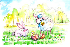 Sheep and rabbit. Lamb and rabbit found easter egg on the meadow.Picture I have painted by myself with watercolors Royalty Free Stock Photo