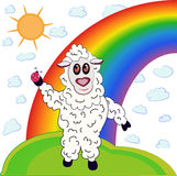 Sheep and rainbow. Lamb joyful. He runs across the grass and keeps on hoof ladybird Royalty Free Stock Photos