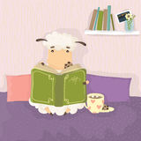 Sheep reading a book and drinking a hot drink. With marshmallows. Cozy vector illustration. Year of the sheep Stock Photography