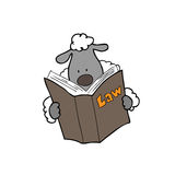 Sheep reads law book Stock Photography