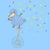 Sheep ridding a bike Royalty Free Stock Photography