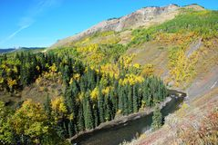 Sheep River Valley in Autumn Stock Photo