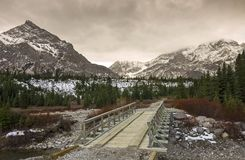 Sheep River Wood Bridge on Elbow Trail in Kananaskis Country Stock Photos