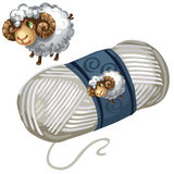 Sheep and roll of white wool thread. Vector. Illustration isolated Royalty Free Stock Photos