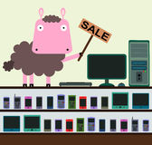 Sheep's gadgets Stock Photography