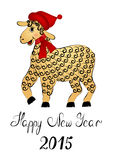 Sheep sand color with black curls. In a cap of Santa Claus, with a red scarf on the neck - a symbol of 2015 Royalty Free Stock Images