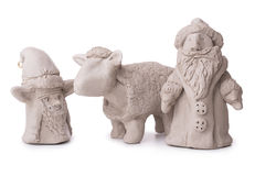 Sheep, Santa Claus, elf toy clay Royalty Free Stock Image