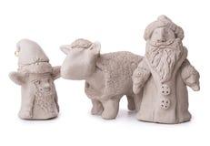 Sheep, Santa Claus, elf toy clay Royalty Free Stock Image