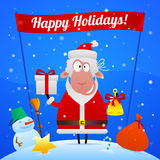 Sheep Santa Claus holiday illustration Stock Photo
