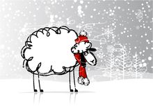 Sheep santa in forest, symbol of new year 2015. Vector illustration royalty free illustration