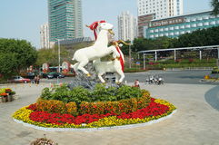 Sheep sculpture landscape. In Shenzhen folk culture village tourism scenic area. This year is the Lunar New Year Chinese sheep. This is a traditional Chinese stock photo