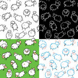 Sheep seamless. Set of seamless with cute sheep Royalty Free Stock Images