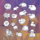 Sheep set on abstract polygonal background.Symbol 2015 Year, year of Sheep. Vector Illustration Royalty Free Stock Photos