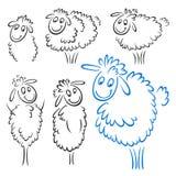 Sheep set. A set of sheep sketches new year symbol Vector Illustration