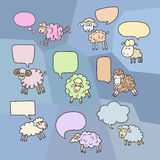 Sheep set with speech bubbles. Symbol 2015 Year, year of Sheep. Vector Illustration Stock Illustration