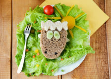Sheep shaped funny sandwich for kids Stock Image