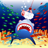 Sheep and shark. Creative illustration that could be used for children book (for example stock illustration