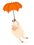 Sheep Sheep Flies On An Umbrella Royalty Free Stock Photos