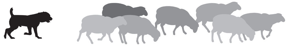 Sheep with Shepherd Dog Silhouettes. A guard sheepdog protects a flock of sheep from predators, livestock guardian dog LGD, a type of pastoral dog bred vector stock illustration