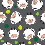 Sheep and shrubs. Seamless pattern. Royalty Free Stock Photography
