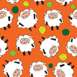 Sheep and shrubs. Seamless pattern. Stock Images