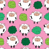 Sheep and shrubs. Seamless pattern. Royalty Free Stock Photo