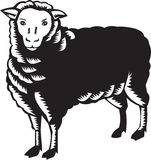 Sheep Side View Woodcut Royalty Free Stock Images
