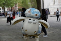 A sheep on the sidewalk. In London, England Stock Images