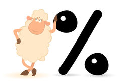 Sheep with the sign of percent Royalty Free Stock Images