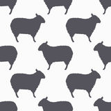Sheep silhouette seamless pattern. Lamb meat background Royalty Free Stock Photo